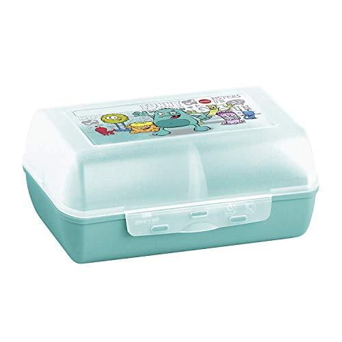 Emsa 514482 Brotdose für Kinder, Herausnehmbare Trennwand, Monstermotiv, Mint, Variabolo Monster
