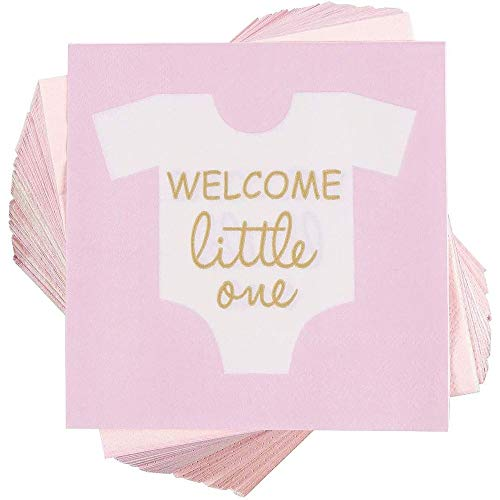 Girl Baby Shower Party Supplies, Paper Napkins (5 x 5 in, Pink, 100-Pack)
