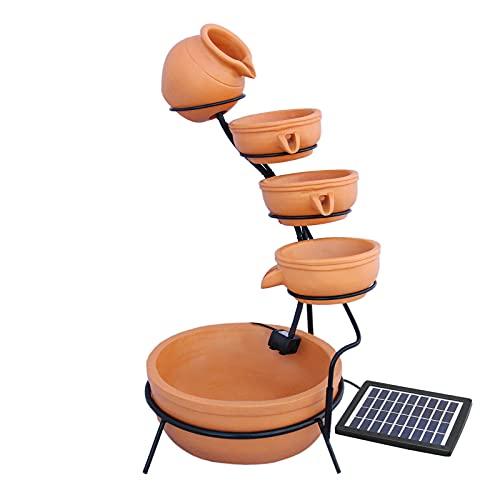 MonsterShop - Fontana Solare a Cascata da Giardino con Batteria di Supporto da 6 Ore Fontanella con Pannello Solare e Picchetto Fontanella a Vasi Fontana con Ciotole - Terracotta