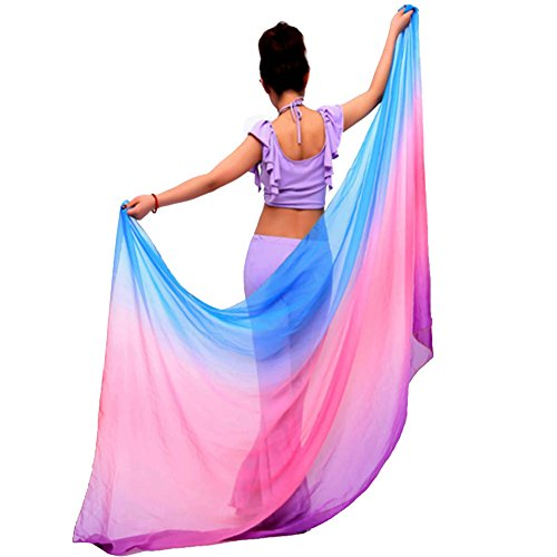 KAYI Womens Bauchtanz-Schal-Wickelschal Veil Gorgeous Gradient Design, Blau + Rose + Lila