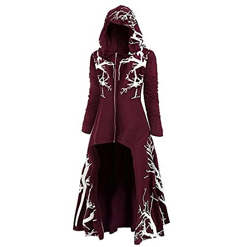 Cape de costume d'Halloween pour femme, style gothique, vintage, cape à capuche, cardigan avec fermeture éclair ouverte, trenchcoat en grande taille, cosplay
