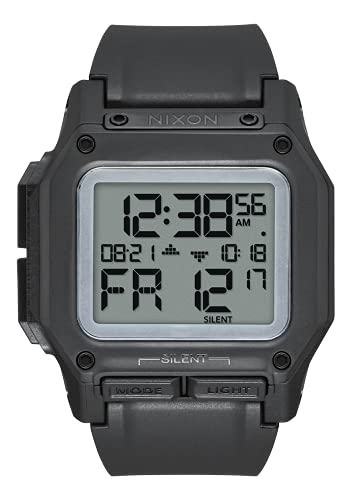 NIXON Regulus A1180 - Black/Positive - 100m Water Resistant Men's Digital Sport Watch (46mm Watch Face, 29mm-24mm Pu/Rubber/Silicone Band)