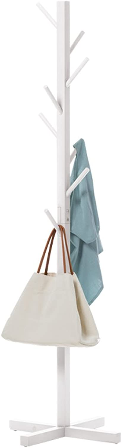 GFL Solid Wood Coat Rack for Clothes Stand Hat Handbag H165cmW50cm (color   White)