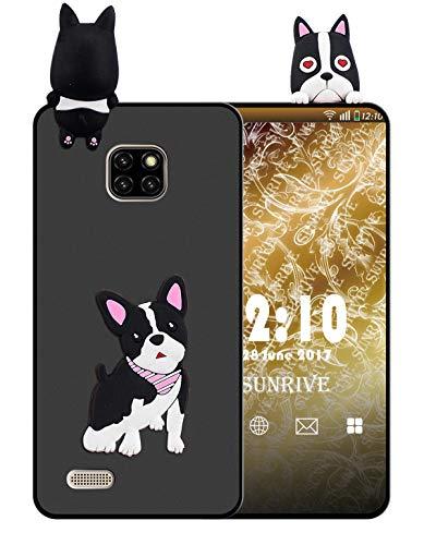 Sunrive Für Ulefone Note 7 (2019) Hülle Silikon, Handyhülle matt Schutzhülle Etui 3D Hülle Backcover für Ulefone Note 7 (2019)(W1 Hündchen) MEHRWEG+Gratis Universal Eingabestift