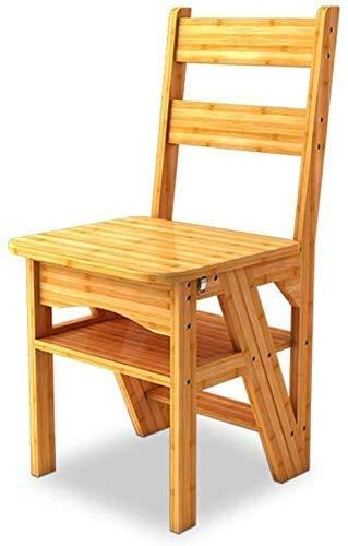 GUOXY Multifunktions-Schwerholzstufen 4 Stufen Transforming Folding Rückenlehne Stuhl Für Kinder Und Erwachsene, Max. 150Kg Hocker Startseite Gartenwerkzeug,Natürlich,Natürlich