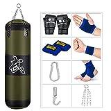 Saco de boxeo para hombre y mujer, niños, bolsa de boxeo sin relleno, bolsa pesada con guantes de perforación, cadena, gancho de techo para MMA, Kickboxing, Muay Thai, Karate, Taekwondo