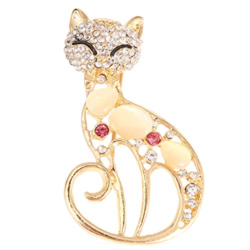 Ivyday Vintage Cat Brooch Pin Corsage Antique Imitation Opals Animal Brooch for Women Small Pin