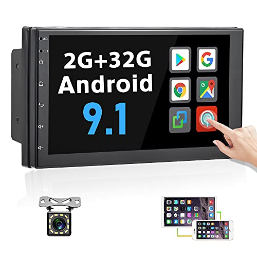 [2G+32G] Android 9.1 Double Din Android Car Stereo with WiFi GPS 7 Inch Capacitance Touchscreen Head Unit Support Bluetooth FM Radio Reciever Mirror Link for iOS Android Phones + Backup Camera