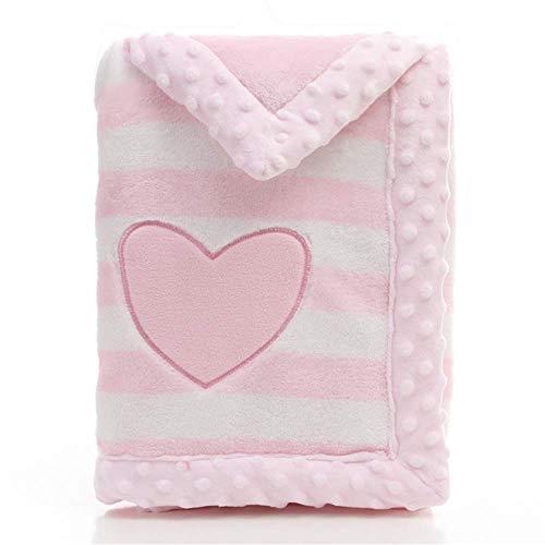 Babydecke, LANDOR Doppelschichten Flanell weiche Babydecke Winter warme Streifen Plüsch Kleinkind Decke bequeme Kinderwagen Decke (Rosa Herz)