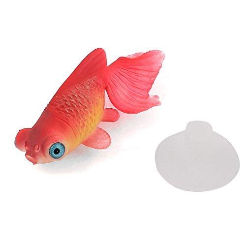 DealMux Peces de Acuario Tanque de succión Copa simulado Flotante Goldfish Decoración, Rojo