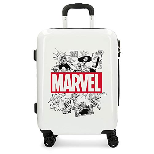 Marvel Avengers Comic White Cabin Suitcase 40 x 55 x 20 cm Rigid ABS Combination Lock 37 Litre 2.6 kg 4 Double Wheels Hand Luggage