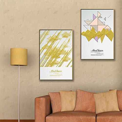 Non-branded artaslf Origami Vector Diagram Wall Art Canvas Painting Nordic Posters and Prints Carteles e Impresiones Living Room Home Decor-30 * 40cm sin Marco-3 Piezas