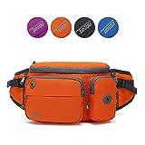 TUDEQU Running Waist Bag Fanny Pack Bum Bag with Two Invisible Bottle Holder for Men Women Hiking, Running, Dog Walking (Orange)
