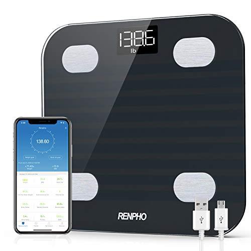 RENPHO Báscula de grasa corporal Bluetooth, báscula inteligente de IMC, 13 analizador de composición corporal, báscula de baño de peso corporal digital recargable por USB con aplicación de teléfono inteligente, 396 libras, negro