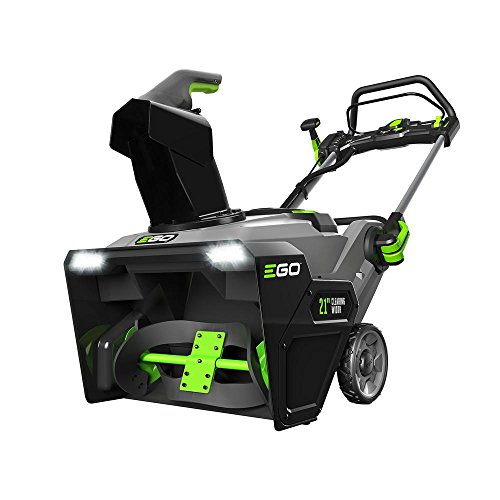 Electric Snow Blower Cordless 21 in. Single Stage with Two 5.0 Ah Batteries, High-Efficient Brushless Motor, Grey/Green