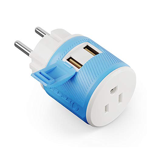 Denmark Travel Plug Adapter by OREI with Dual USB - USA Input + Surge Protection - Type K (U2U-20), Will Work with Cell Phones, Camera, Laptop, Tablets, iPad, iPhone and More