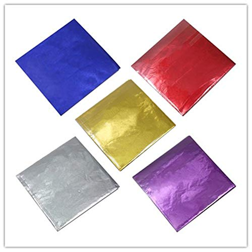 500 Pcs 5 Colors Chocolate Candy Wrappers Aluminium Foil Paper Wrapping Papers Square Sweets Lolly Paper Food Candy Tin Foil Wrappers for Candy Packaging Decoration (4x4 inches)