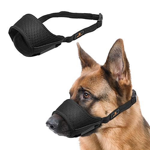 WBYJ Maulkörbe Für Hunde, Hunde Maulkorb mit Verstellbarer Schlaufe, Atmungsaktiv Mesh Sanft Nylon Maulkorb zur Verhinderung von Beißen, Bellen und Kauen (L)