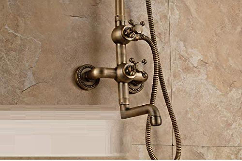 GZF Luxus Neue Antike Messing Regendusche Wasserhahn Set + Einhebelmischer + Handbrause Wand Montiert,Section 2