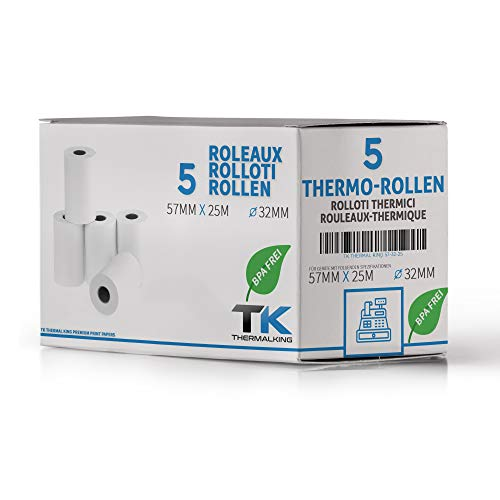 5 rollos de papel térmico EC Cash | Ancho: 57 mm – Diámetro: 35 mm – Diámetro del manguito: 12 mm – Longitud: 25 m | Para impresora de tickets, terminal de EC, etc.