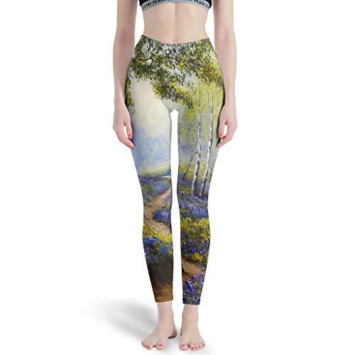 LPLoveYogaShop Leggings para mujer, diseño de bosque primaveral y flores, delgados, para yoga, ocio blanco S