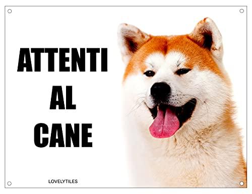 AKITA INU attenti al cane mod 2 TARGA cartello IN METALLO (15X20)