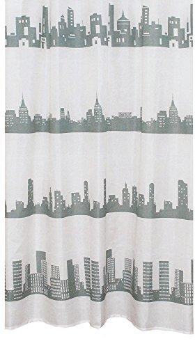 Unbekannt Textil Duschvorhang Skyline BxH 180x200cm | grau/weiß