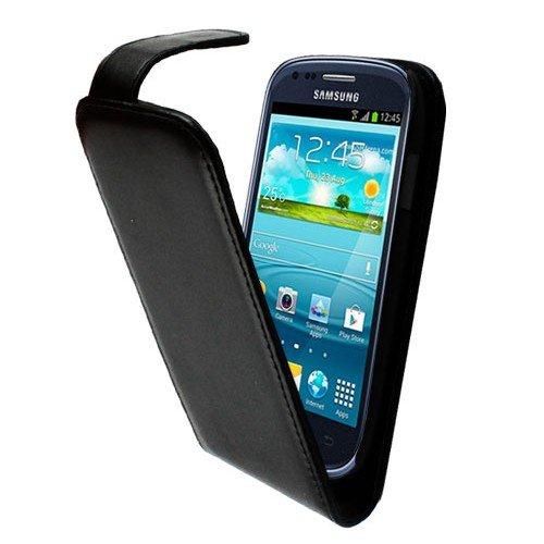 CUSTODIA/COVER FLIP case in pelle per Samsung S3 SIII MINI i8190 + 2 PELLICOLE Proteggischermo – NERO