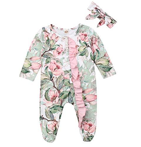 Unisex Newborn Baby Footed Pajama Rompers Zip up Long Sleeve Jumpsuit...