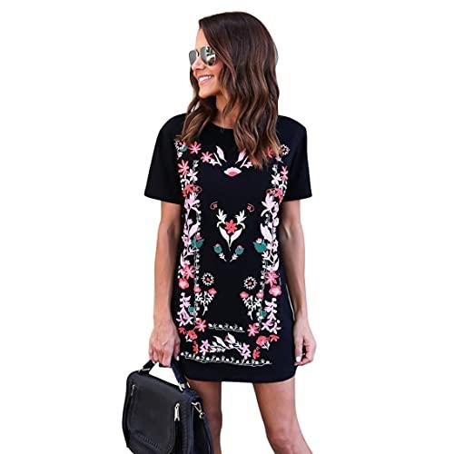 QiKun-Home Diseño de Moda Vestido Estampado Floral para Mujer Vestido Casual de Verano de Manga Corta con Cuello Redondo para Uso Diario Negro L
