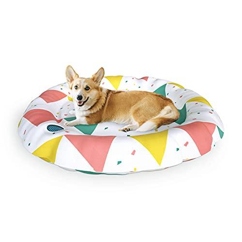 XJD Tappetino refrigerante Cani Gatti Cuccia per Cani per L'Estate Letto per Animali Gel Non Tossico Lavabile Robusto autoraffreddamento Diametro 62 cm(Triangolo)