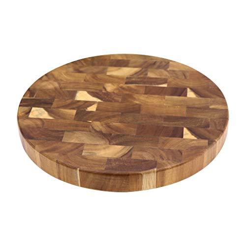 WALNUTA Acacia Tableros de corte de grano con extremo de madera de madera Bloque de carnicería de madera Carne de corte de madera Tablero grueso Tablero de madera redondo
