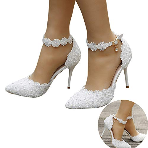 Woman Bridal Shoes Pearl Lace Floral Embroidery Stiletto Comfy Heel Lace Satin Pumps Satin Flower Net Yarn Wedding Party Shoes (White, 8 M US)