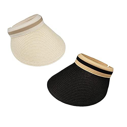 2 Pcs Mujer Paja Visera Verano Golf Sombrero De Playa Sol Gorras Protección UV Gorra Ajustable para Viajes Al Aire Libre