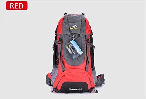 les hommes de sac à dos en plein air et les femmes sac à bandoulière sac à bandoulière grand sac à dos Voyage capacité forfait randonnée imperméable à l'eau de camping 65L ( Couleur : Rouge , taille : 65L )
