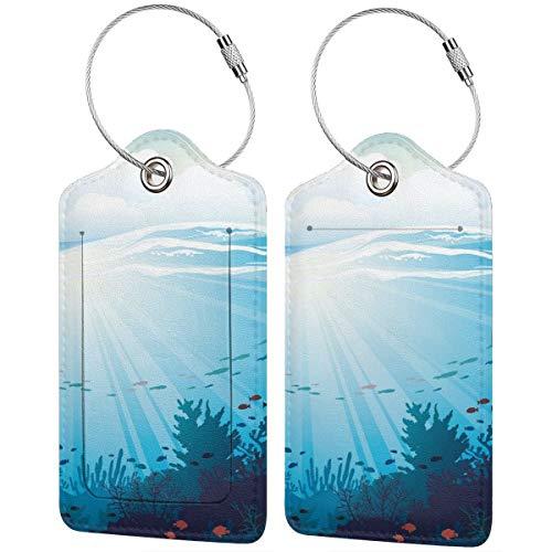 WINCAN Gepäckanhänger Kofferanhänger mit Adressschild,Ocean Fish Aquarium Korallenriffe drucken,Kofferanhänger zur Identifizierung von Tasche, Koffer und Gepäck auf Reisen,(2 Stück)