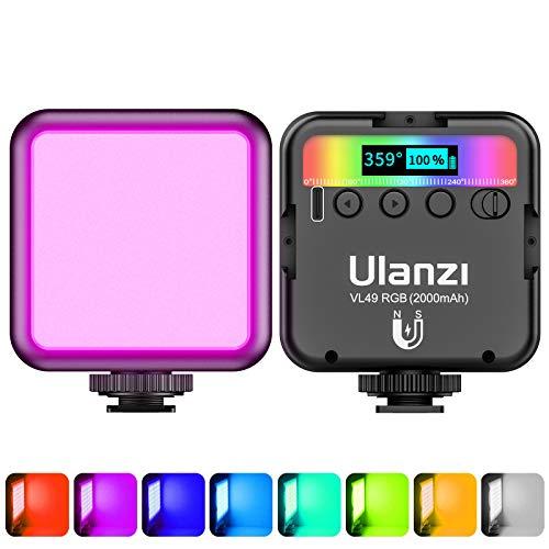 Luce Video RGB Led, ULANZI VL49 Faretto Led Dimmerabile 2500K-9500K Temperatura di Colore con Batteria Integrata, Luci Video illuminazione Pannello con LCD Display per Fotocamera Fotografia