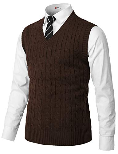 H2H Mens Casual Slim Fit Pullover Sweaters Knitted Vest Brown US L/Asia XL (CMOV052)