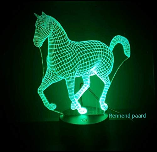 3D led lamp rennend paard