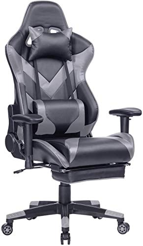 KCREAM Gaming Chair Ergonomic High-Back Large Size Office Desk Chair Swivel Grey PC Gaming Chair with Lumbar Support and Retractible Footrest (Black/Grey)