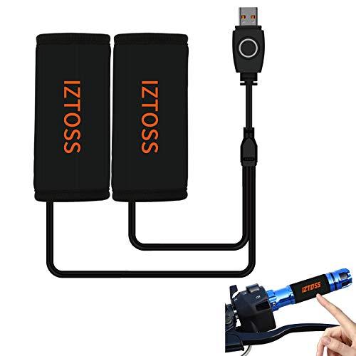 Horse Heart Poignées chauffantes USB Guidon Warmer Overgrip Amovibles pour Moto, Alimentation USB 5 V 3 Vitesses avec Interrupteur Set de poignées chauffantes pour véhicules électriques