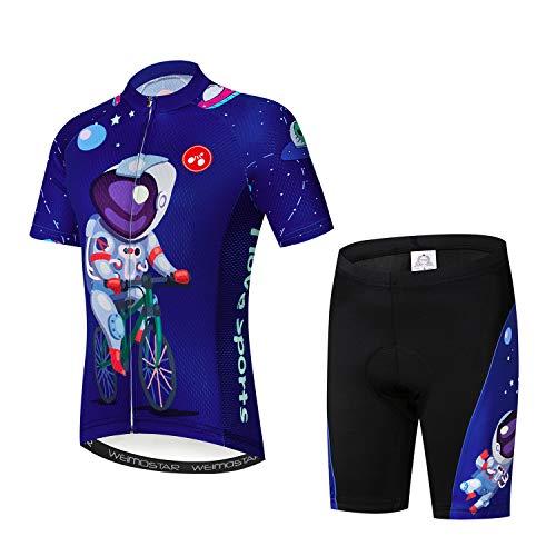 Niños Ciclismo Jersey Conjunto Ropa Niños Niñas Pantalones Cortos Pad Trajes - Azul - Medium