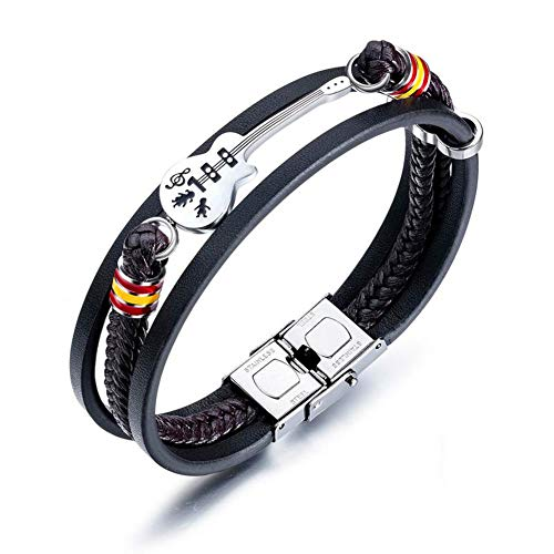 ATEIELLI B306 Men's Guitar Bracelet PU Leather Black Brown with Stainless Steel Clasp