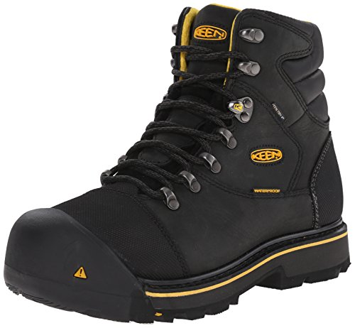 KEEN Utility Men's Milwaukee Waterproof Work Boot, 11.5, Black/Black, 11 D US