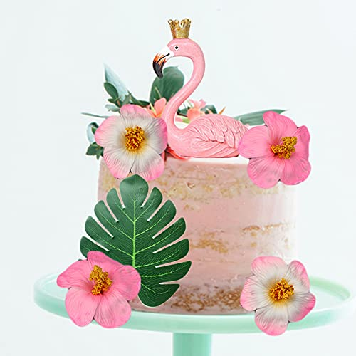 GEORLD 6Pcs Big Flamingo Cake Toppers Flamingo Birthday Cake Decoration for Tropical Hawaiian Luau Themed Party Supplies