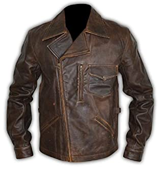 Escape Snake Plissken Antique Brown Biker Leather Jacket  Antique Brown Medium