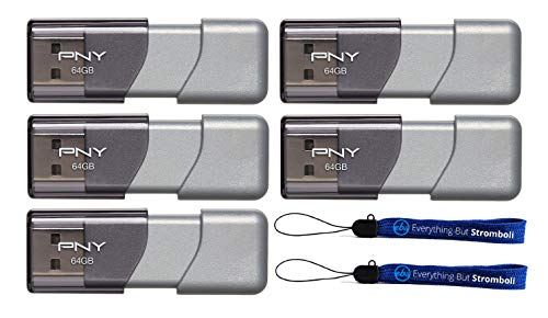 PNY 64GB USB 3.0 Flash Drive Elite Turbo Attache 3 (Five Pack) Model P-FD64GTBOP-GE Bundle with (2) Everything But Stromboli Lanyard