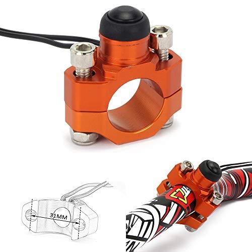 JFGRACING CNC - Botón Universal para Interruptor de Parada de Motocicleta con Placa de Montaje para Manillar K.T.M SX EXC XCF Duke LC4 SMR SMC SUPERDUKE – Naranja