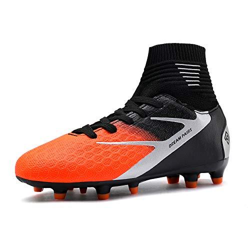 DREAM PAIRS Jungen Mädchen Leichte Fußballschuhe Kinder Atmungsaktive Football Schuhe Schwarz Grau Orange Größe 12 US Little Kid / 30 EU HZ19002K