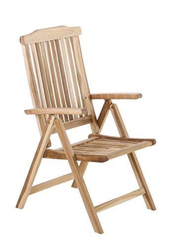 SAM Hochlehner Aruba, Teak-Holz, Klappstuhl 5-Fach verstellbar, Massivholz, Gartenstuhl ideal für Balkon, Terrasse oder Garten